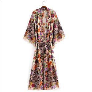 """The Mimi"" Cotton Jungle Print Kimono"